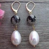 E082414 10mm Stone 10x15mm White Rice Pearl Earrings GP Lever Black