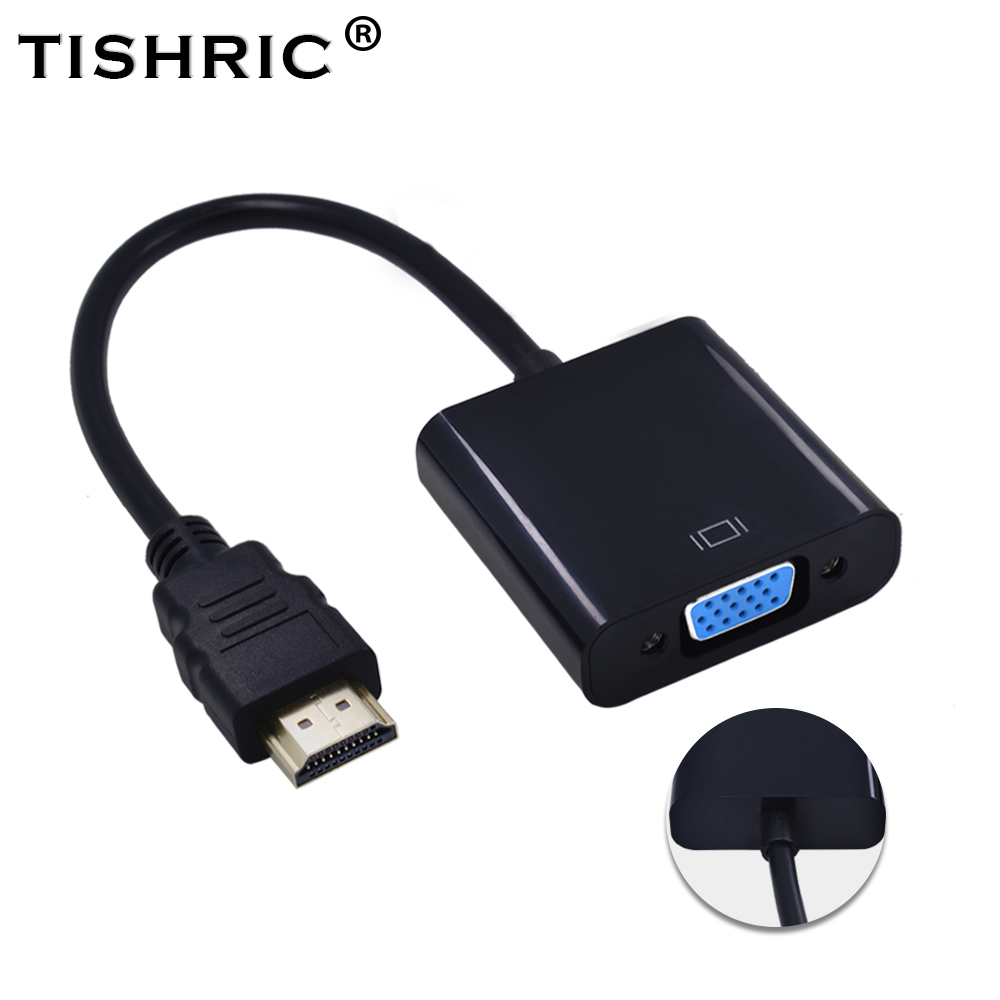 TISHRIC HDMI to VGA Cable Adapter Male To Female Video Converter 1080P Digital to Analog Gold HDMI2VGA For Laptop PC Projector