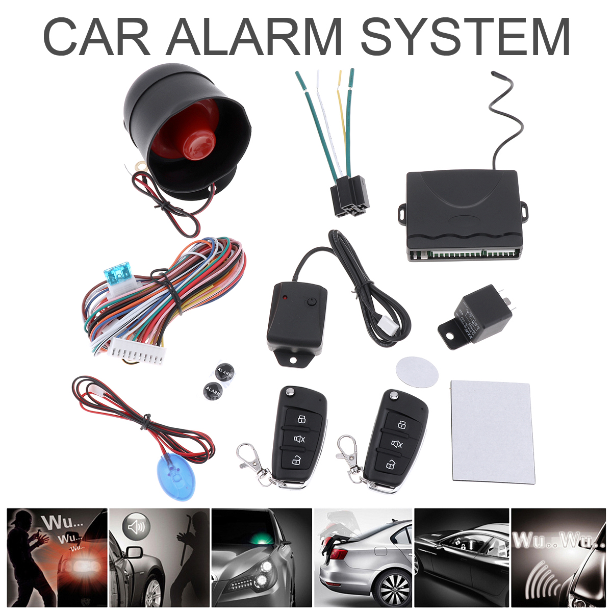 Universal 12V Auto Car Alarm System Remote Central Kit Keyle