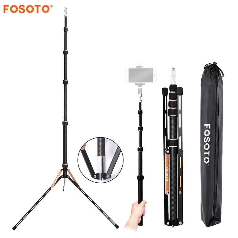 Fosoto FT-220 soporte de trípode de luz Led de fibra de carbono y 2 cabeza de tornillos para estudio fotográfico iluminación Flash paraguas Reflector