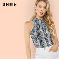 SHEIN Classy Modern Lady Streetwear Multicolor Mock Neck Stand Collar Animal Snake Skin Top Summer Women Solid Vests