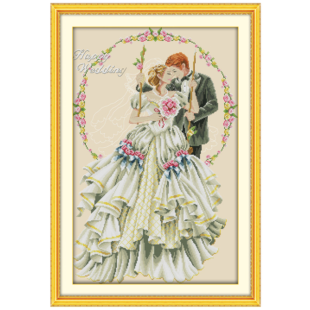 Happy Wedding Patterns Counted Cross Stitch 40 40CT Cross Stitch Unique Cross Stitch Wedding Patterns