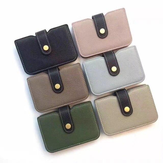 2017 Genuine leather bank card holder female ID credit card package women sheepskin thin mini card case bag wallet  cash pocket