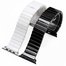 Ceramic Watch Band for Apple Watch 38 42mm Series 1 2 3 Link Bracelet Butterfly Buckle Black White Glossy Watch Belt And Adapter swatch watch skin series fashion black and white quartz watch syxs100