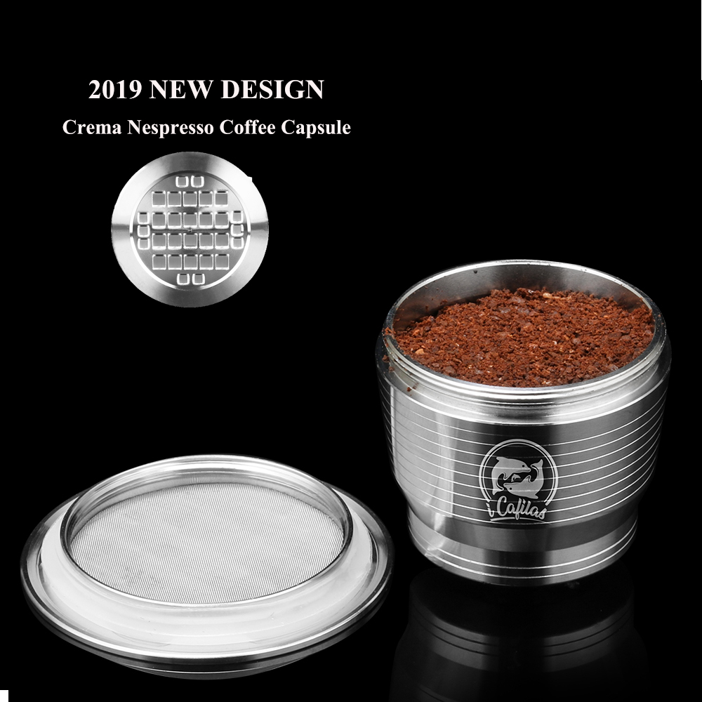 Refillable Upgrade Square Hole Nespresso Stainless Steel Empty Capsule Crema Reusable Coffee Filter Cup Reusable Cafe Dripper