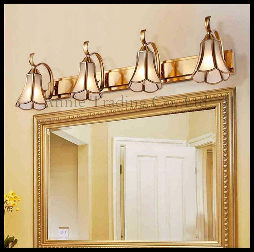 Attractive Gold Bronze LED Mirror Lighs Vintage Glass Shade Bathroom American Retro  Vanity Cabinet Light Industrial Makeup Lighting Fixture