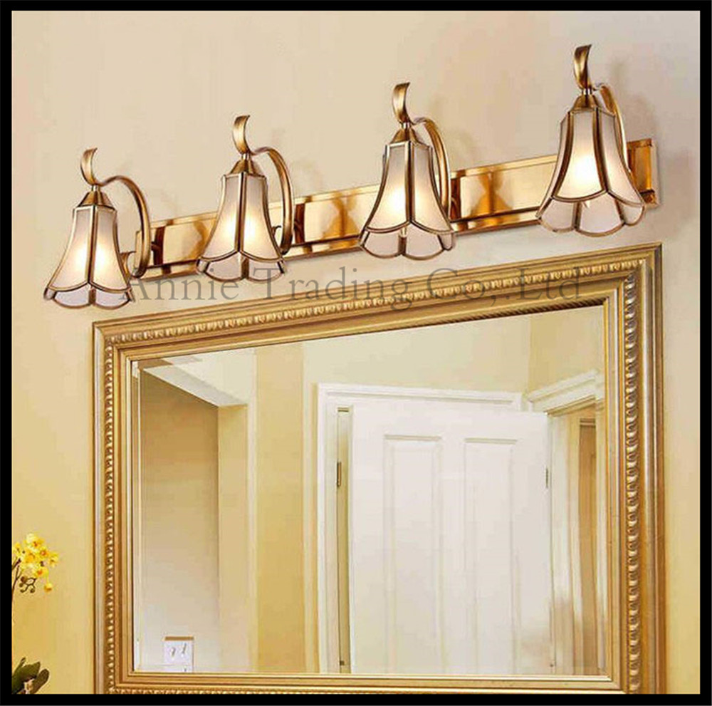 Gold Bronze LED Mirror Lighs Vintage Glass Shade Bathroom American Retro Vani