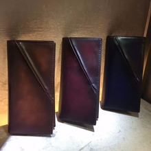 TERSE_Hot selling large capacity handmade men long wallet in coffee/ burgundy/ blue colors with coin pocket phone wallet OEM ODM