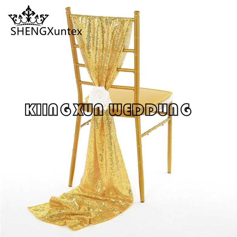 Nice Looking Gold Color Sequin Chiavari Chair Sash  Hood For Wedding Event Decoration Free Shipping