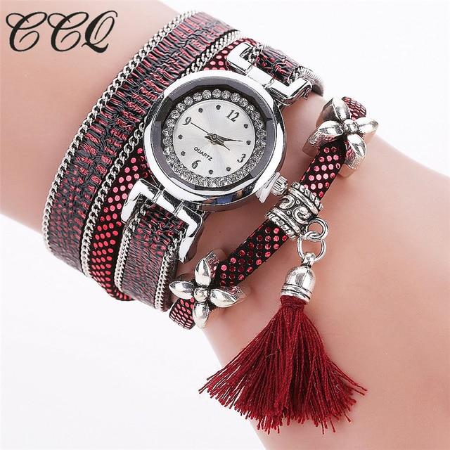 CCQ Fashion Women Bracelet Watch Silver Original Design Tassel Pendant Wristwatches Leather Vintage Quartz Watches Gift C75