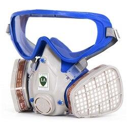 Gasmaske mit brille vollgesichtsschutzmaske Silikon kohlefilter maske lackierpistole gas boxe schützen maske anzug