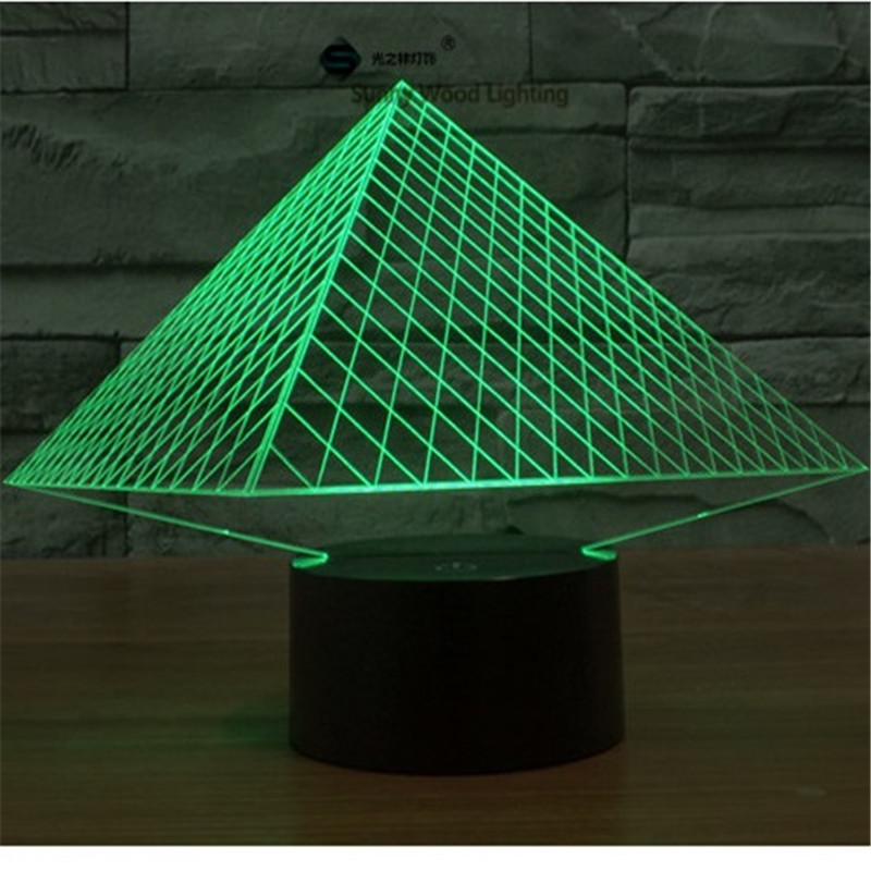 Pyramid switch LED 3D lamp ,Visual Illusion 7color changing 5V USB for laptop, desk decoration toy lamp