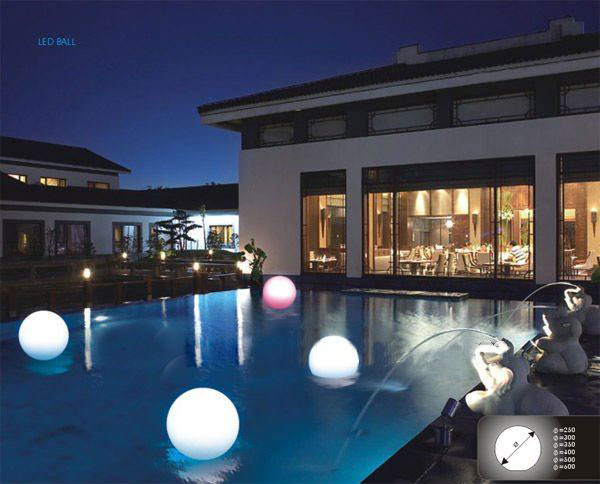 free shipping 20cm-7.8 outdoor led light up swimming pool balls