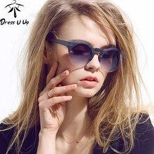 2016 New Women Brand Designer Vintage Sunglasses Woman Semi rimless Retro Sun Glasses Round Oculos font