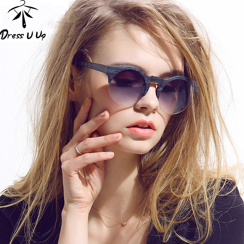 DRESSUUP Wanita Pusingan Sunglasses Merek Designer Vintage Semi-rimless Sun Glasses UV Protection
