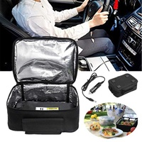 Black 12V Vehicle/Household Mini Personal Portable Lunch Oven Bag Instant Food Heater Warmer Electric Oven Heating Lunch Box