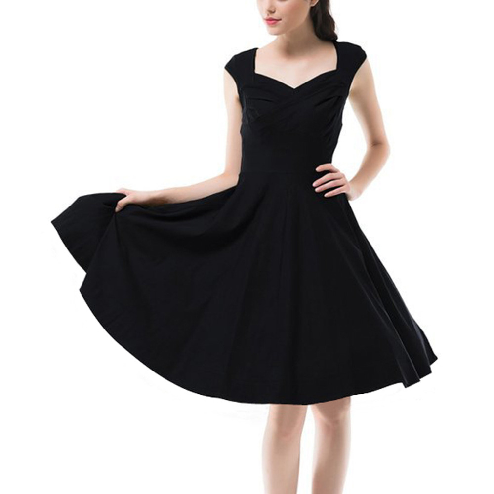 Black dress retro - Hot New 2016 Summer Women Casual Dresses Retro Party Robe Rockabilly 50s Black Vintage Dress Plus Size Vestidos Cheap Z1