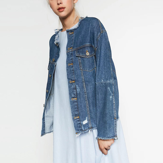272f308912b New Casual Denim Coat Plus Size Loose Casual Patch Cowboy Jacket Ripped  Holes Autumn Female Outwear BE62038-1015