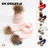 Baby Winter Autumn Knitted Beanie Hat And Scarf Sets With Real Fur Pom Pom Children For