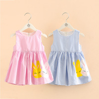 Baby Cartoon Rabbit Dress 2018 Summer New Children S Clothing Girls Striped Sleeveless Dresses Cute Sundress