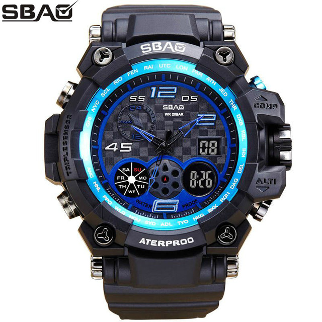 Sbao Mens Watches Top Brand Luxury Watch Date Calendar Led Electronics Men Military Relogio