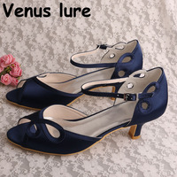 Open Toe Ladies Evening Shoes Weddings Navy Satin Prom Party Sandals Low Heeled