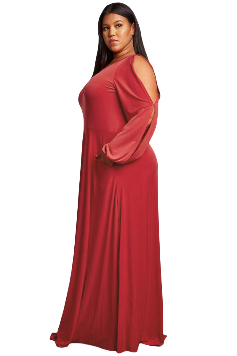 Red-Split-Long-Sleeve-Plus-Size-Maxi-Dress-LC610516-3-3