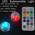 Impermeable mini 3 led Sumergible Luz LED Para El Partido Decoración De Jarrones Con Mando a distancia