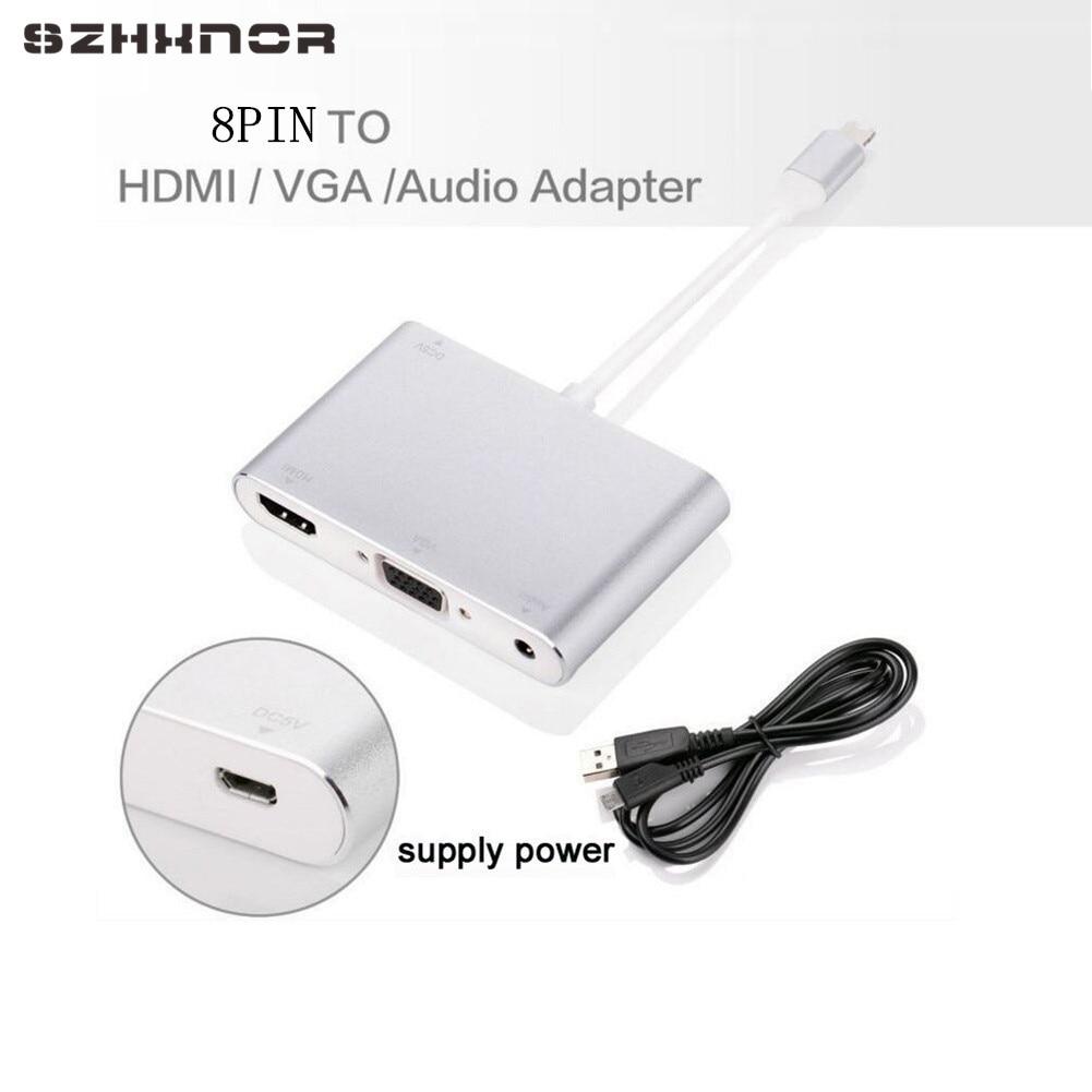 Szhxnor 8 Pin To Digital Av Multiport Hdmi Vga Audio
