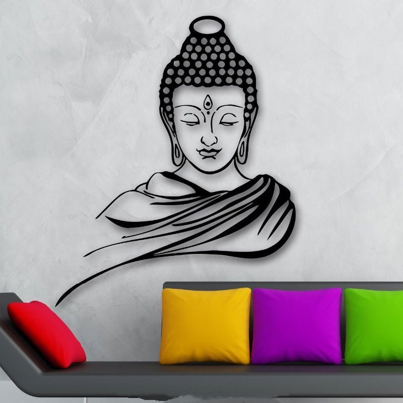 3D Poster Classic Religion Buddhism Buddha Meditation Wall Sticker Decal Vinyl Removable Wall Art Home Decor wall sticker YJ21-in Wall Stickers from Home & Garden