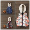 New Arrival Autumn Winter Baby Boys Printed Warm Vest Boys Fashion Hooded Waistcoat Kids Winter Warm Outerwear Jacket Coat