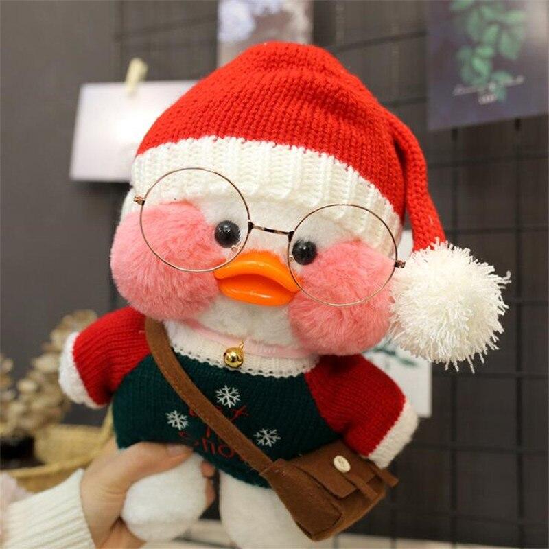 White LaLafanfan Kawaii Cafe Mimi Yellow Duck Plush Toy Cute Stuffed Doll Soft Animal Dolls Kids Toys Birthday Gift For Children