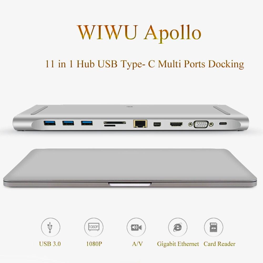 Station d'accueil WIWU multi-fonction 11 en 1 Hub USB type-c pour MacBook aluminium USB 3.0 vers HDMI/VGA amarrage universel pour Dell
