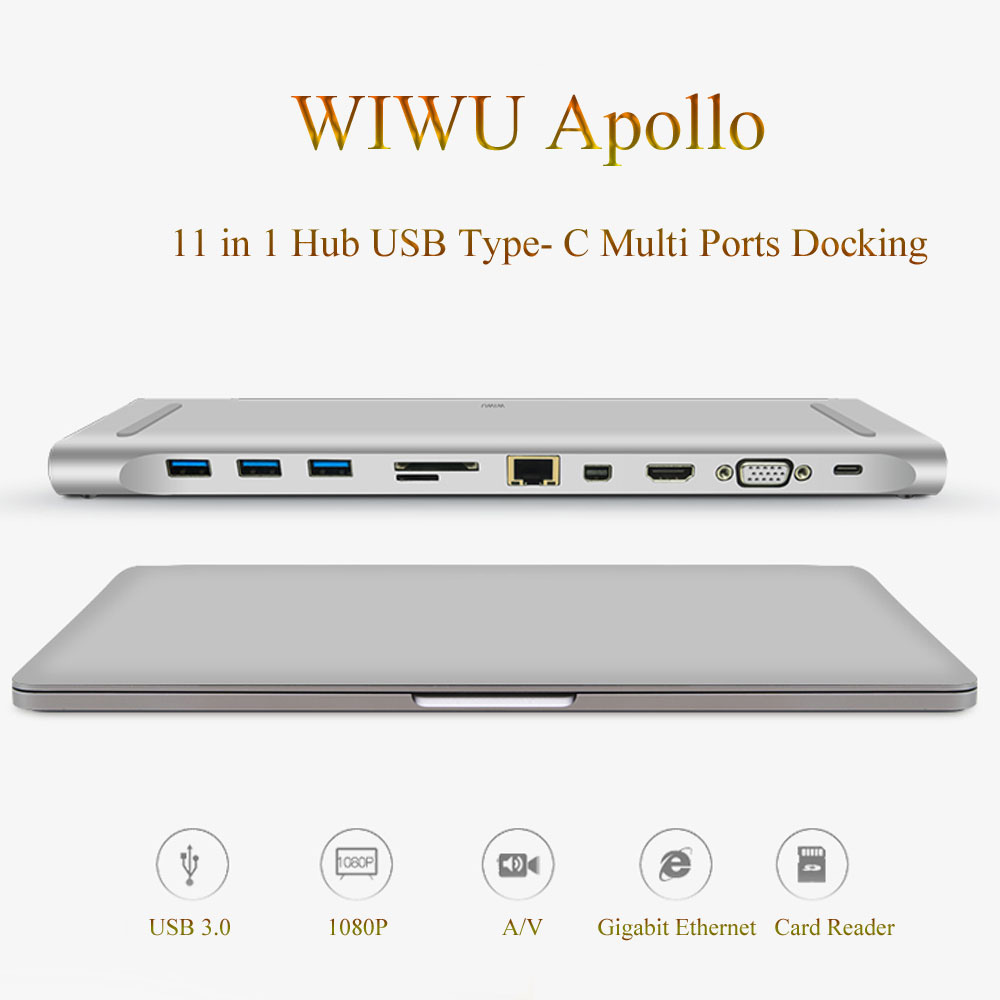 wiwu-multi-function-11-in-1-hub-usb-type-c-docking-station-for-macbook-aluminum-usb-3-0-to-hdmi-vga-universal-docking-for-dell