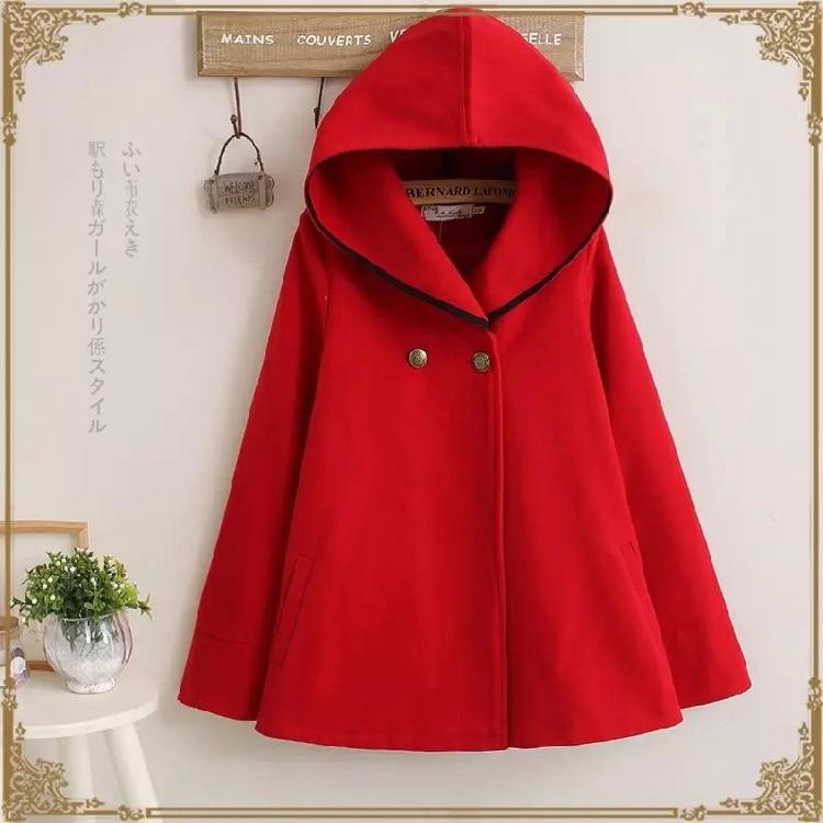 UHYTGF осень зима Короткое шерстяное пальто для женщин плюс размер плащ с капюшоном шерстяное пальто мода Свободный рукав летучая мышь шерстяная Верхняя одежда 684