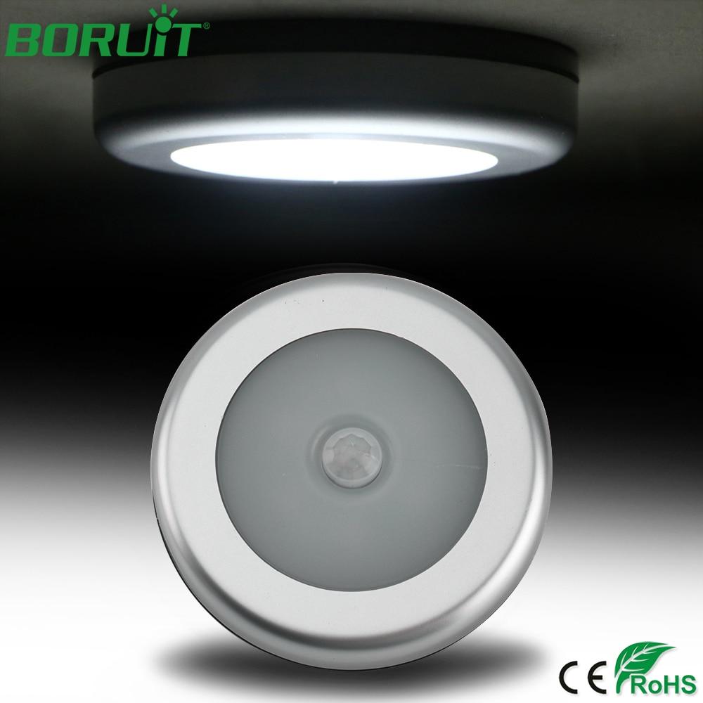 BORUiT PIR Motion Sensor 6 LEDs Night Light Magnetic Wireless Closet Cabinet Light for Kitchen Bedroom Corridor Stair Light Lamp