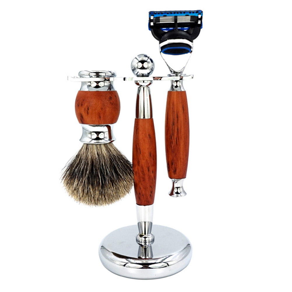 3in1 Safety Razor Set Shaving Brush Kit, 5 Layers Manual Safety Razor + Badger Hair Shaving Brush + Razor Holder Stand
