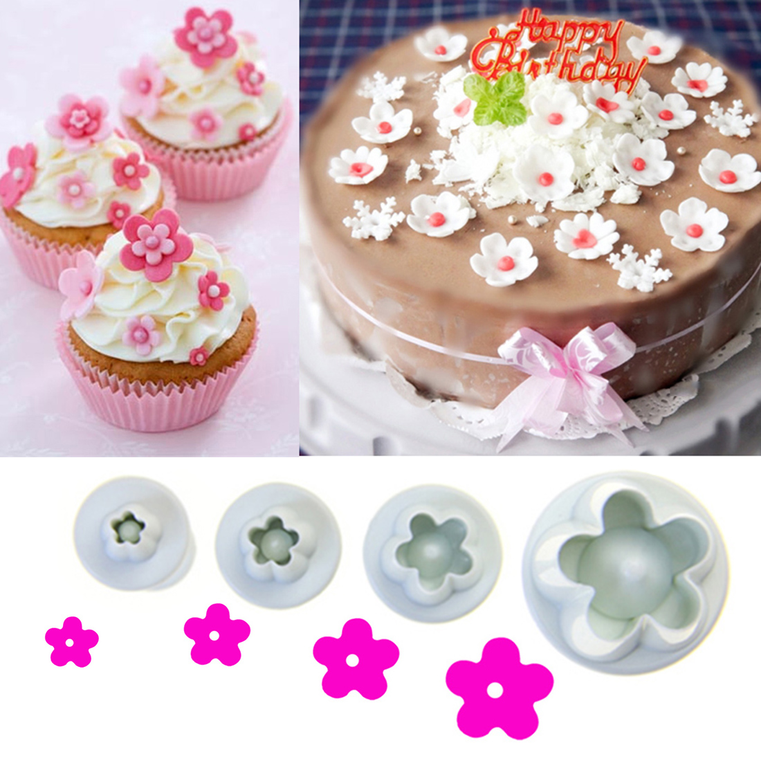 4PCS Plastic Baking Mold Kitchen Biscuit Cookie Cutter Pastry Plunger 3D Stamp Die Fondant Cake Decorating Tools
