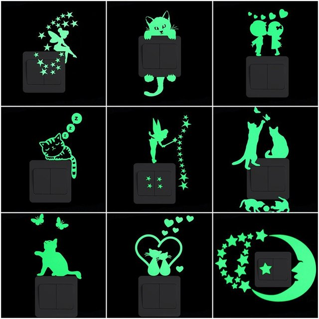 Cartoon Luminous Switch Sticker Glow in the Dark Wall Stickers Home Decor Kids Room Decoration Sticker Decal Cat Fairy Moon Star