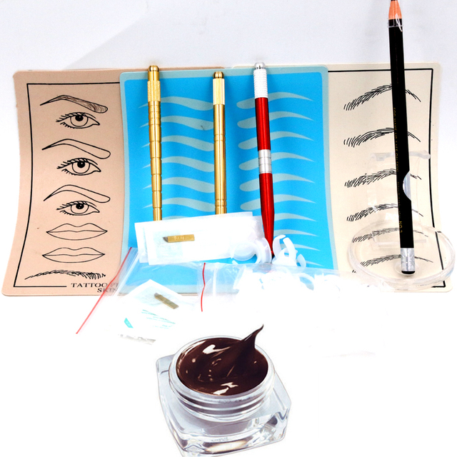 New design professional microblading permanent make up pen kits for beginners beauty learning with 3pcs manual pens and skins