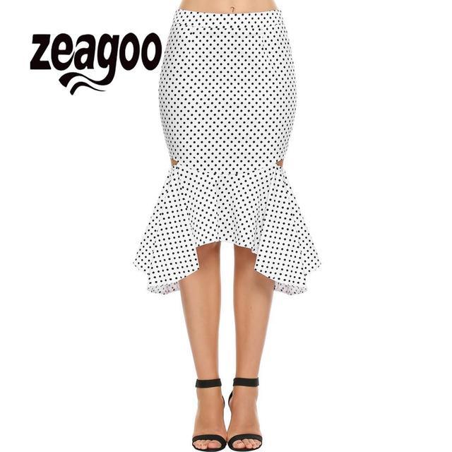 zeagoo Package Back Calf Dot Skirt High Contrast Color Zipper Hollow Casual length