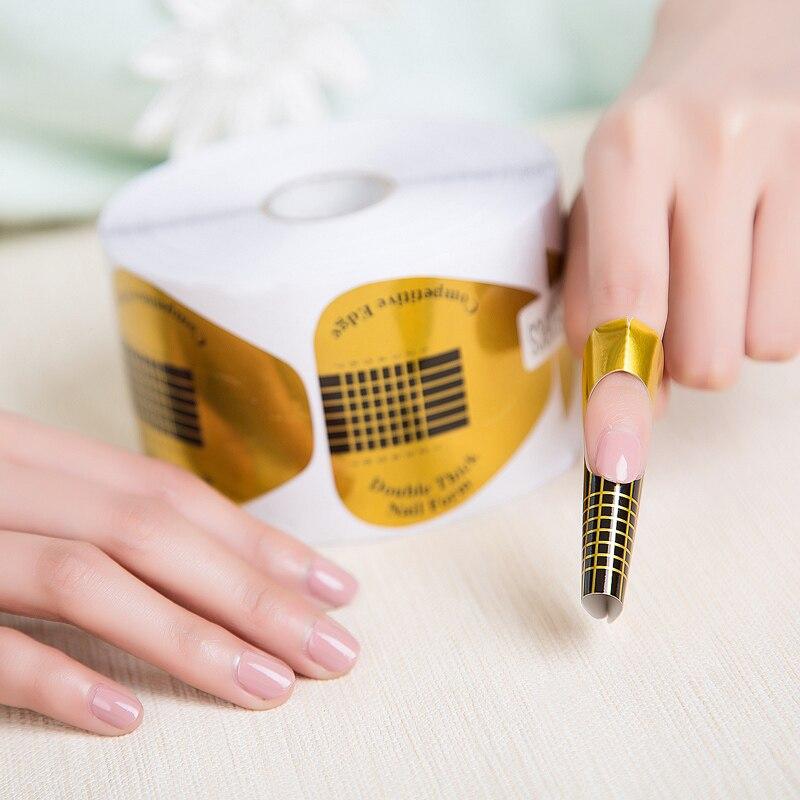 50Pcs/set Golden U Shaped Nail Form Art Tip Extension
