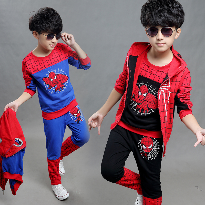 Kids Clothes Boys Spiderman 2015 New Autumn Sports Outfit Children Knitting Hooded Set Three Piece 2015 new arrive super league christmas outfit pajamas for boys kids children suit st 004