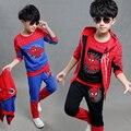 Roupa dos miúdos meninos Spiderman 2015 nova outono Sports Outfit crianças tricô com capuz conjunto de três peças