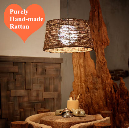 American natural rattan art hand-made pendant light North Europe vintage rural classic lamp for vestibule&corridor&porch&studio