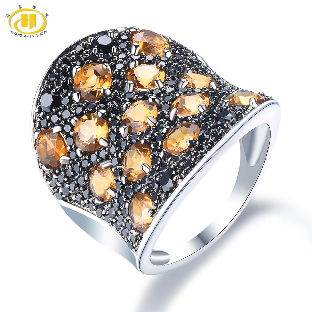 Hutang Engagement Wedding Ring Gemstone Citrine Spinel Solid 925 Sterling Silver Rings Natural Fine Fashion Jewelry