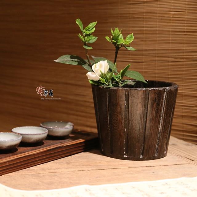 Retro nostalgia Paulownia quema de madera maceta de madera japonesa ...