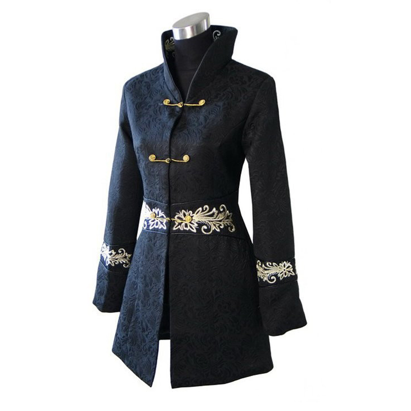 Plus 4XL Black Fashion Jacket Chinese Tradition Style Cotton Lengthen Jacket Women Long Coat Outerwear dust