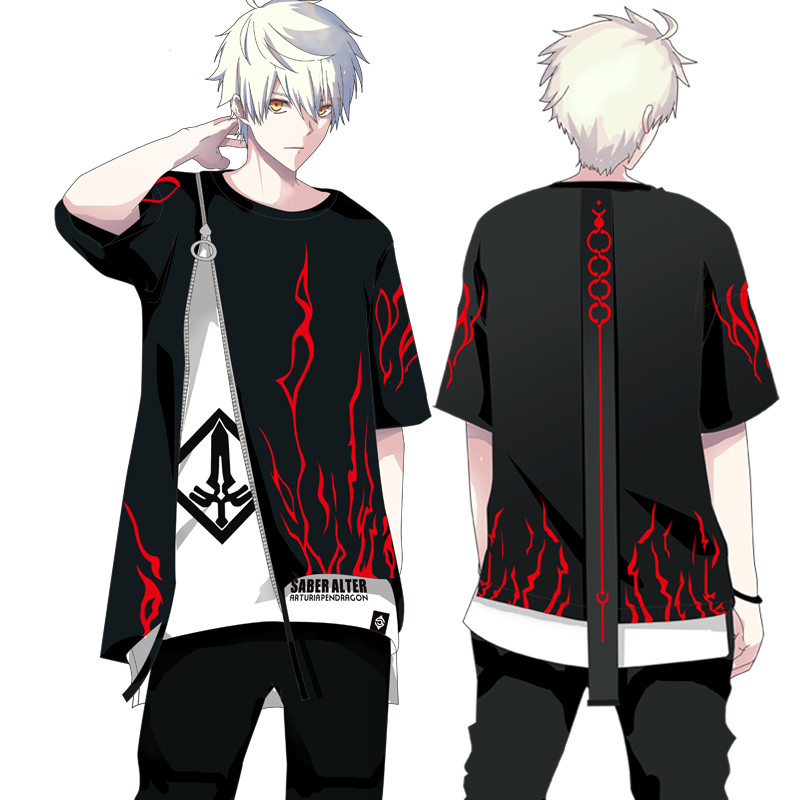 Anime Fate/stay Night Saber Alter Cosplay Costume T-shirt Fake Two Pieces Long Sleeve Hoodie & Short Sleeve Tops 2019 COOL