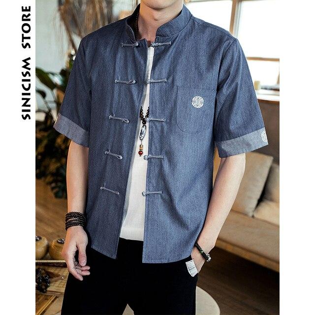 Sinisation Magasin Hommes Denim Chemise À Manches Courtes Chemises Chinois  Style Mode Homme Chemises Habillées De 46d395713092